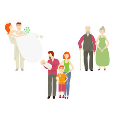 Flat couples characters set isolated vector