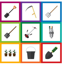 Flat icon garden set of shovel pump trowel and vector