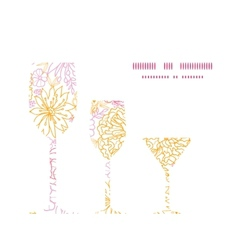 Flowers outlined three wine glasses silhouettes vector