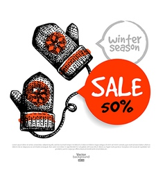 Hand drawn sale christmas background vector