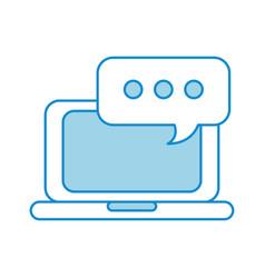 laptop online speech bubble chat communication vector image
