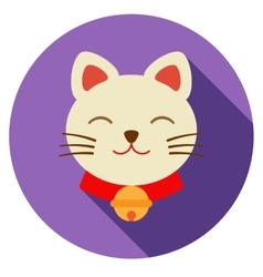 Lucky cat icon flat vector