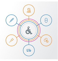 Medicine outline icons set collection of disabled vector