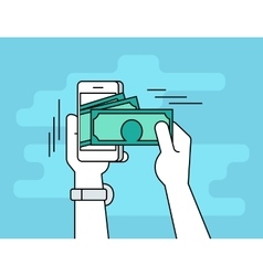 Mobile banking flat line contour of vector image