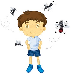 Mosquitos biting little boy vector image vector image