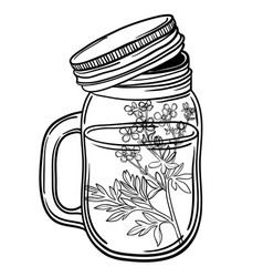 print with a beautiful jar and a branch with vector image vector image
