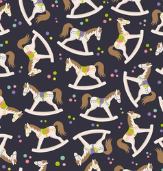 Seamless texture with rocking horses vector