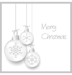 shiny white christmas decoration baubles with vector image