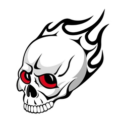 skull with flames tattoo vector image vector image