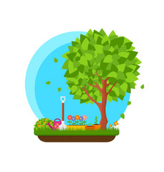 Spring garden with flower and tree vector