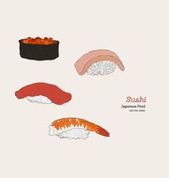 sushi hand drawn vector image