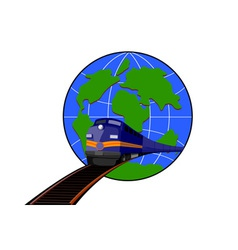 Train and Globe vector image vector image