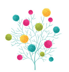 Tree with colorful pom poms decorative vector