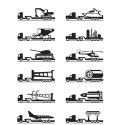 Trucks with over-sized loads vector