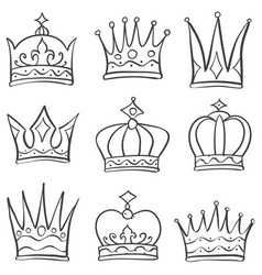 Various crown sketch doodle set vector