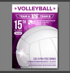 Volleyball poster sport event announcement vector