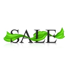 Black sale sign with green silky ribbon vector