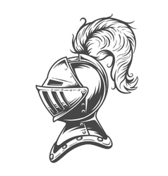 Monochrome knight helmet armor vector image