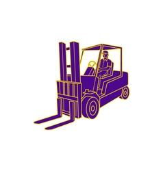 Forklift Truck Mono Line vector image
