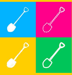 Shovel to work in the garden four styles of icon vector