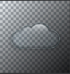 modern transparent cloud glass plate with vector image