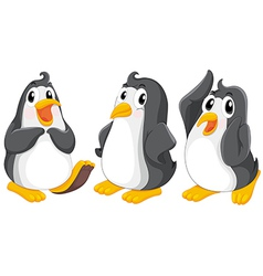 Three cute penguins vector