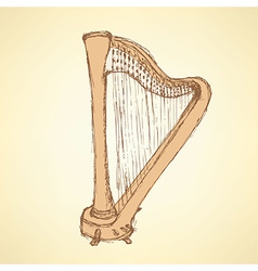 Sketch harp musical instrument vector