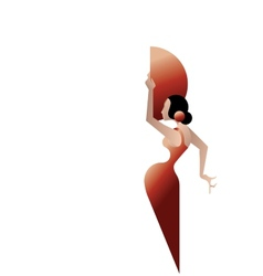 Styled silhouette spain flamenco dancer vector