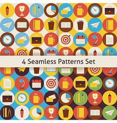 Four flat seamless business and office patterns vector