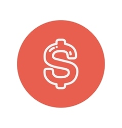 Dollar symbol thin line icon vector