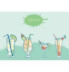 Set of isolated colorful sketch cocktails and vector
