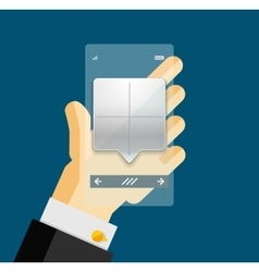 Businessman hands on mobile phone with web dialog vector