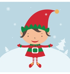 Christmas elf card template vector