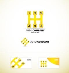 Auto gear stick speed car logo vector