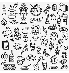 Raw food  diet - set icons vector