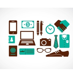 Business travel icons vector