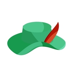 Green hat with feather icon cartoon style vector