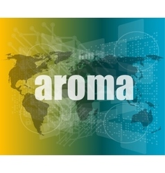 Aroma word on digital screen mission control vector