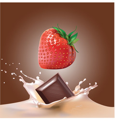 beautiful strawberries chocolate and milk vector image vector image