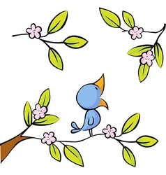 Blossoming twig seated birds - vector