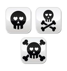 Cartoon skull with bones and hearts buttons vector