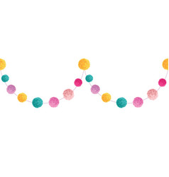 Colorful happy birthday party pom poms set vector