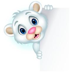 cute little polar bear holding blank sign vector image vector image