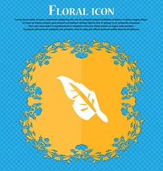 Feather icon sign floral flat design on a blue vector