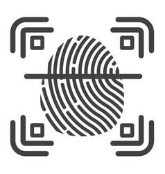 Fingerprint scanner line icon id and security vector