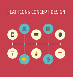 flat icons contact tea espresso machine and vector image