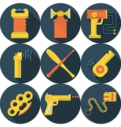 Flat icons for self defence vector