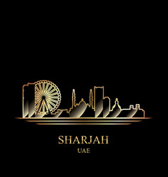 Gold silhouette of sharjah on black background vector