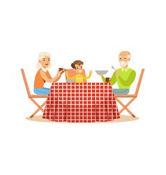 Grandmother grandfather and grandson having lunch vector