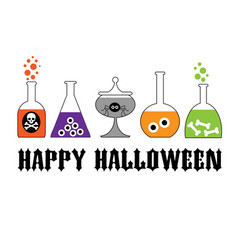 Halloween typography with spooky lab bottles vector
